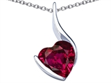 Star K™ Large 10mm Heart Shape Created Ruby Heart Pendant Necklace style: 306706