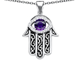 Star K™ Good Luck Hamsa Evil Eye Protection Pendant Necklace with Round Simulated Amethyst style: 306709
