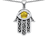Star K™ Good Luck Hamsa Evil Eye Protection Pendant Necklace with Round Simulated Citrine style: 306711