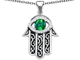 Star K™ Good Luck Hamsa Evil Eye Protection Pendant Necklace with Round Simulated Emerald style: 306714