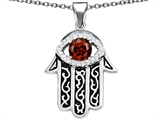 Star K™ Good Luck Hamsa Evil Eye Protection Pendant Necklace with Round Simulated Garnet style: 306715