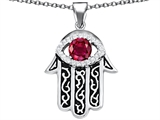 Star K™ Good Luck Hamsa Evil Eye Protection Pendant Necklace with Round Created Ruby style: 306716