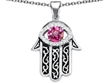 Star K™ Good Luck Hamsa Evil Eye Protection Pendant Necklace with Round Created Pink Sapphire style: 306719
