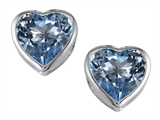 Star K™ 7mm Heart Shape Simulated Aquamarine Heart Earrings Studs style: 306720