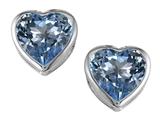 Star K™ 7mm Heart Shape Simulated Aquamarine Heart Earrings Studs style: 306720