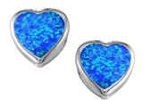 Star K™ 7mm Heart Shape Blue Created Opal Heart Earrings Studs style: 306721
