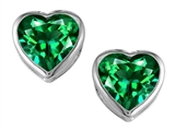 Star K™ 7mm Heart Shape Simulated Emerald Heart Earrings Studs style: 306722