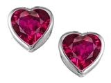 Star K™ 7mm Heart Shape Created Ruby Heart Earrings Studs style: 306728