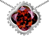 Star K™ Large Clover Pendant Necklace with 12mm Clover Cut Simulated Garnet style: 306744
