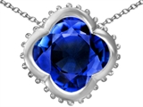 Star K™ Large Clover Pendant Necklace with 12mm Clover Cut Created Sapphire style: 306749
