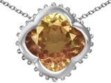 Star K™ Large Clover Pendant Necklace with 12mm Clover Cut Simulated Imperial Yellow Topaz style: 306750