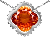 Star K™ Large Clover Pendant Necklace with 12mm Clover Cut Simulated Mexican Orange Fire Opal style: 306751