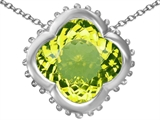 Star K™ Large Clover Pendant Necklace with 12mm Clover Cut Simulated Peridot style: 306756