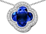 Star K™ Large Clover Pendant Necklace with 12mm Clover Cut Simulated Sapphire style: 306763