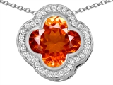 Star K™ Large Clover Pendant Necklace with 12mm Clover Cut Simulated Mexican Orange Fire Opal style: 306765