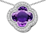 Star K™ Large Clover Pendant Necklace with 12mm Clover Cut Simulated Amethyst style: 306766