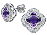 Star K™ Clover Earrings Studs with 8mm Clover Cut Simulated Amethyst style: 306773