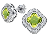 Star K™ Clover Earrings Studs with 8mm Clover Cut Simulated Peridot style: 306776