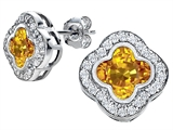 Star K™ Clover Earrings Studs with 8mm Clover Cut Simulated Citrine style: 306785