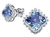 Star K™ Clover Earrings Studs with 8mm Clover Cut Simulated Aquamarine style: 306789