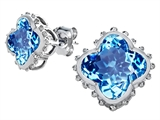 Star K™ Clover Earrings Studs with 8mm Clover Cut Simulated Blue Topaz style: 306790