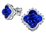 Star K™ Clover Earrings Studs with 8mm Clover Cut Created Sapphire style: 306795