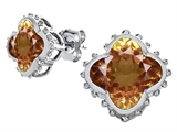 Star K™ Clover Earrings Studs with 8mm Clover Cut Simulated Imperial Yellow Topaz style: 306801
