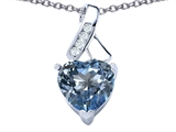 Star K™ 8mm Heart Shape Simulated Aquamarine Ribbon Pendant Necklace style: 306802