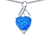 Star K™ 8mm Heart Shape Blue Created Opal Ribbon Pendant Necklace style: 306803