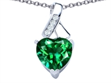 Star K™ 8mm Heart Shape Simulated Emerald Ribbon Pendant Necklace style: 306804