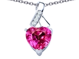 Star K™ 8mm Heart Shape Created Pink Sapphire Ribbon Pendant Necklace style: 306807
