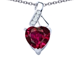 Star K™ 8mm Heart Shape Created Ruby Ribbon Pendant Necklace style: 306808