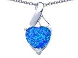 Star K™ 8mm Heart Shape Blue Created Opal Ribbon Pendant Necklace style: 306811