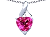 Star K™ 8mm Heart Shape Created Pink Sapphire Ribbon Pendant Necklace style: 306815