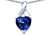 Star K™ 8mm Heart Shape Created Sapphire Ribbon Pendant Necklace style: 306817