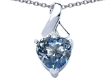 Star K™ 8mm Heart Shape Simulated Aquamarine Ribbon Pendant Necklace style: 306818