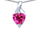 Star K™ 8mm Heart Shape Created Pink Sapphire Ribbon Pendant Necklace style: 306823
