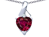 Star K™ 8mm Heart Shape Created Ruby Ribbon Pendant Necklace style: 306824
