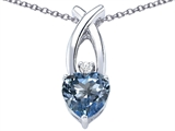Star K™ 8mm Heart Shape Simulated Aquamarine Cross Heart Pendant Necklace style: 306826