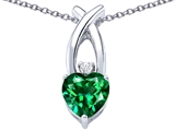 Star K™ 8mm Heart Shape Simulated Emerald Cross Heart Pendant Necklace style: 306828