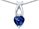 Star K™ 8mm Heart Shape Created Sapphire Cross Heart Pendant Necklace style: 306833