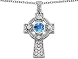 Star K™ Celtic Cross Pendant Necklace with 7mm Round Simulated Blue Topaz style: 306850