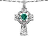 Star K™ Celtic Cross Pendant Necklace with 7mm Round Simulated Emerald style: 306853