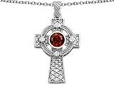 Star K™ Celtic Cross Pendant Necklace with 7mm Round Simulated Garnet style: 306854