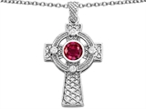 Star K™ Celtic Cross Pendant Necklace with 7mm Round Created Ruby style: 306855
