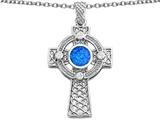 Star K™ Celtic Cross Pendant Necklace with 7mm Round Blue Created Opal style: 306856