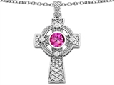 Star K™ Celtic Cross Pendant Necklace with 7mm Round Created Pink Sapphire style: 306858