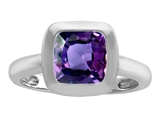 Star K™ 8mm Cushion Cut Solitaire Ring With Simulated Alexandrite style: 306868