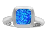 Star K™ 8mm Cushion Cut Solitaire Ring With Simulated Blue Opal style: 306869