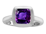 Star K™ 8mm Cushion Cut Solitaire Ring With Simulated Amethyst style: 306873